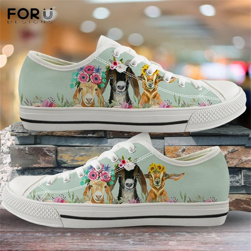 Cheap Wholesale Cute Animal Goat Sheep Pattern Chaussure Femme Ladies Sneakers Comfortable Low Cut Women's Flats Canvas Shoes