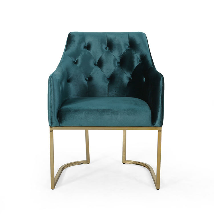Modern Tufted Glam Velvet Cushions and U-Shaped Base Accent Chair