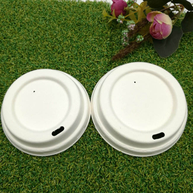 Eco-Friendly Biodegradable disposable sugarcane bagasse pulp paper hot coffee water cup lid lids