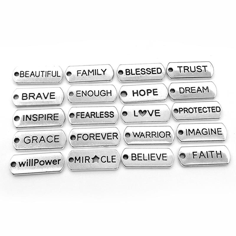 Antique Sliver Plated Word Message Letter Charm DIY Metal Inspirational Words CharmsためJewelry & Bracelet Making