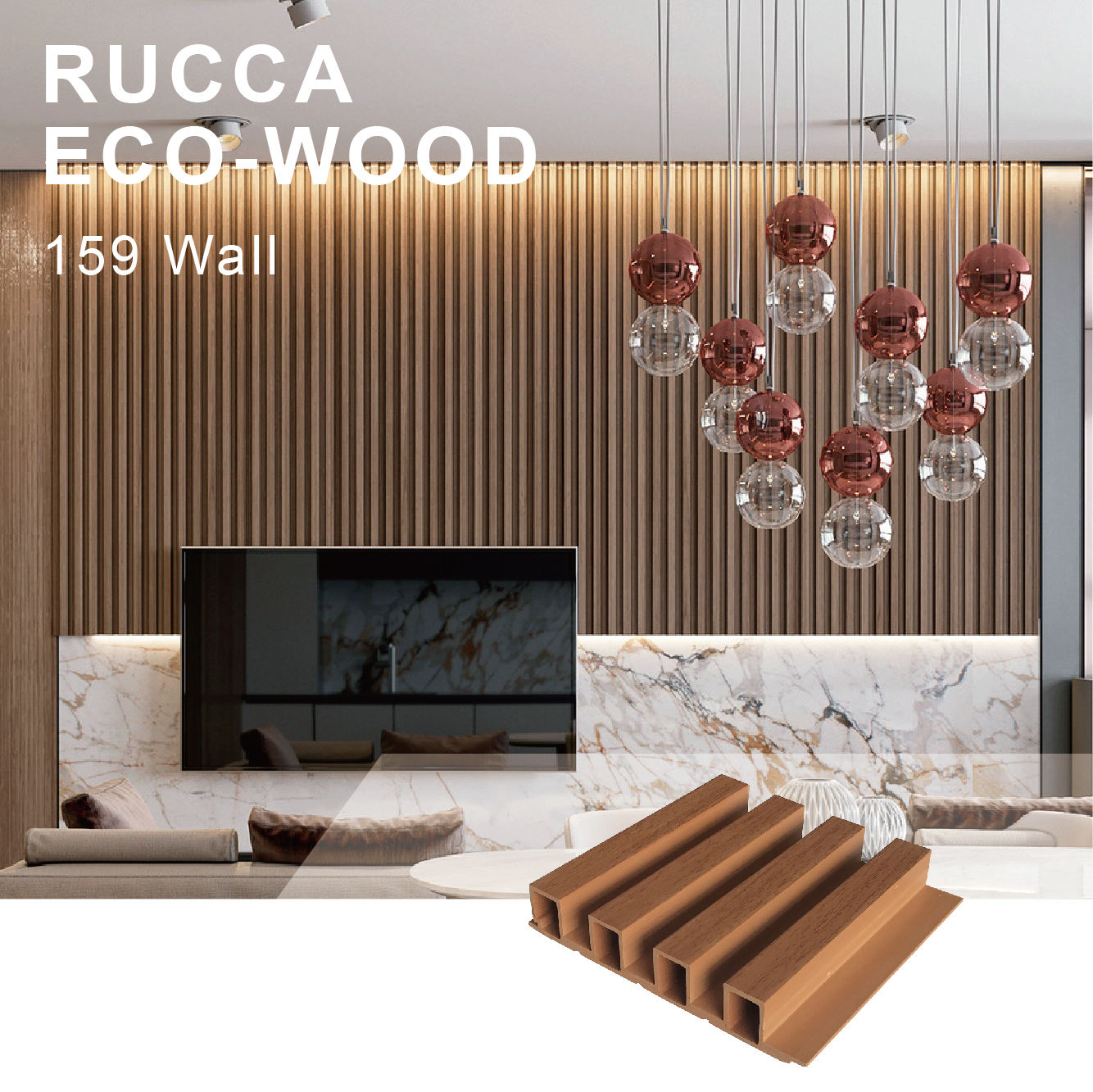 WPC art decor wooden wall panel lightweight exterior interior fireproof decorative 159*28mm wall siding panel