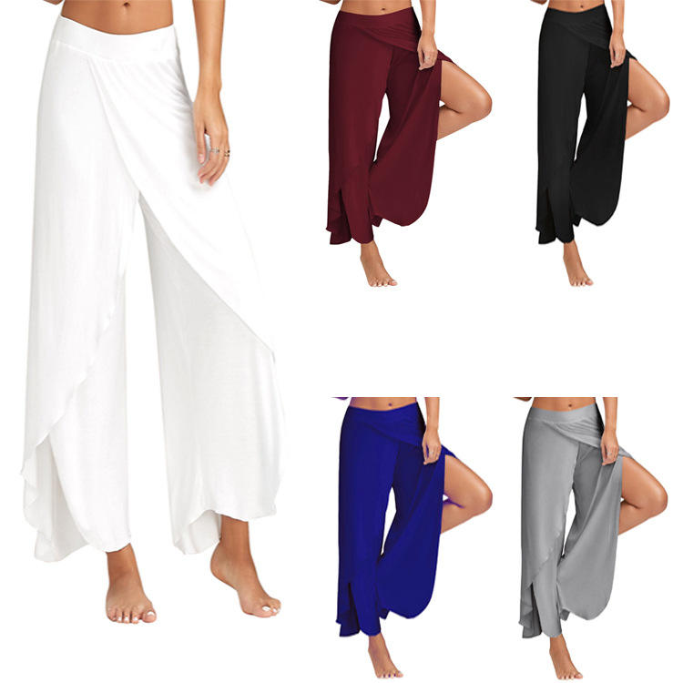 Cool slit wide-leg pants Irregular exposed leg yoga pants Milk silk drape material