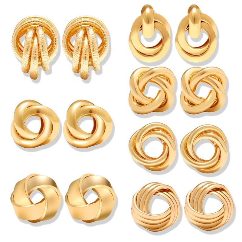 2019 Gold Color Knot Stud Earrings For Women New Fashion Brincos Statement Irregular Metal Round Stud Gold Earrings