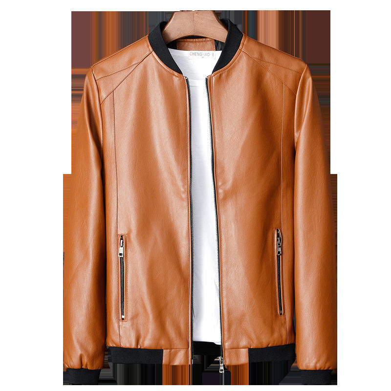 Men's Spring And Autumn Leather Jacket, Slim Thin Leather Jacket