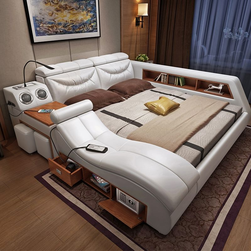 Hyc-Bl02 Modern Simplicity Leather Double Multifunctional Marriage Bed