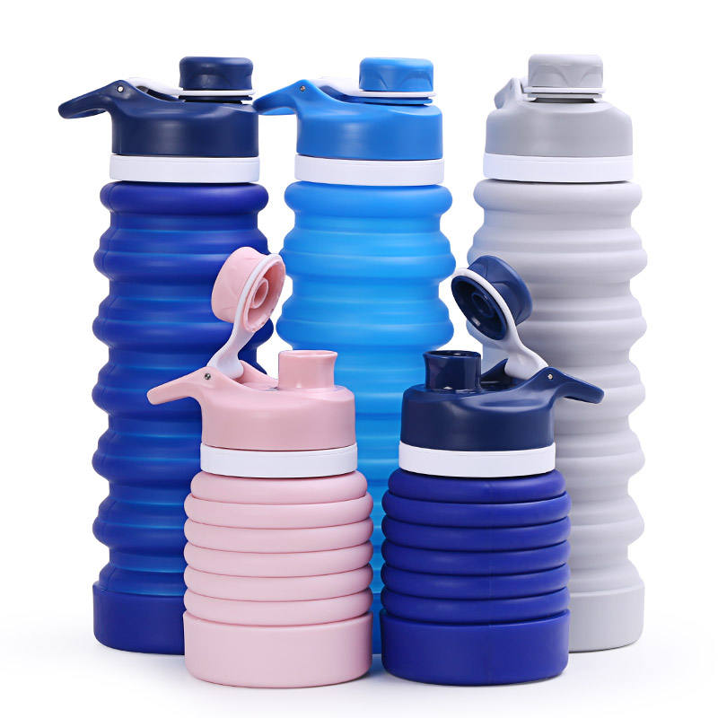Customized BPA Free Silicone Foldable Collapsible Foldable Water Bottle Wholesale