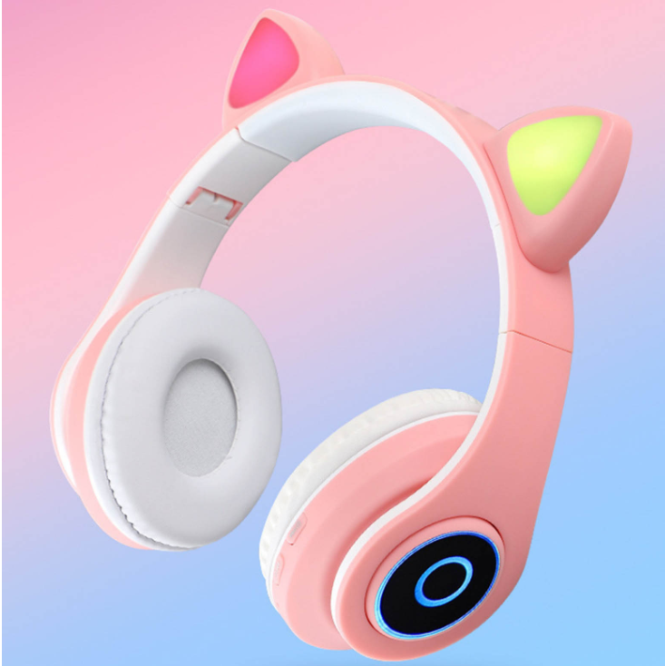 B39-Cat ear over-ear headphone Wireless headphone blue tooth with led cat ear gaming headset HiFi stereo bass earphone