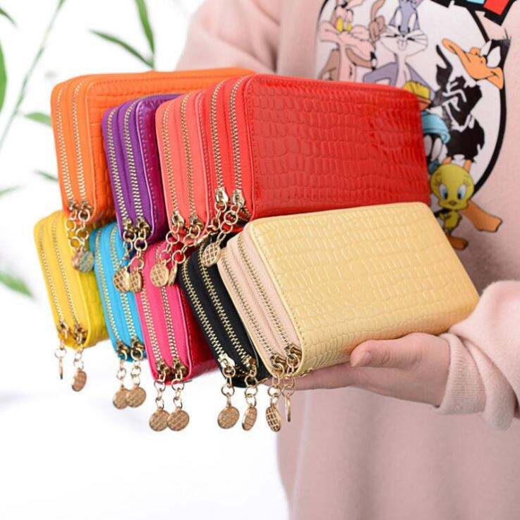 Wholesale women candy color wallet ladies' long purse Double zip phone wallets