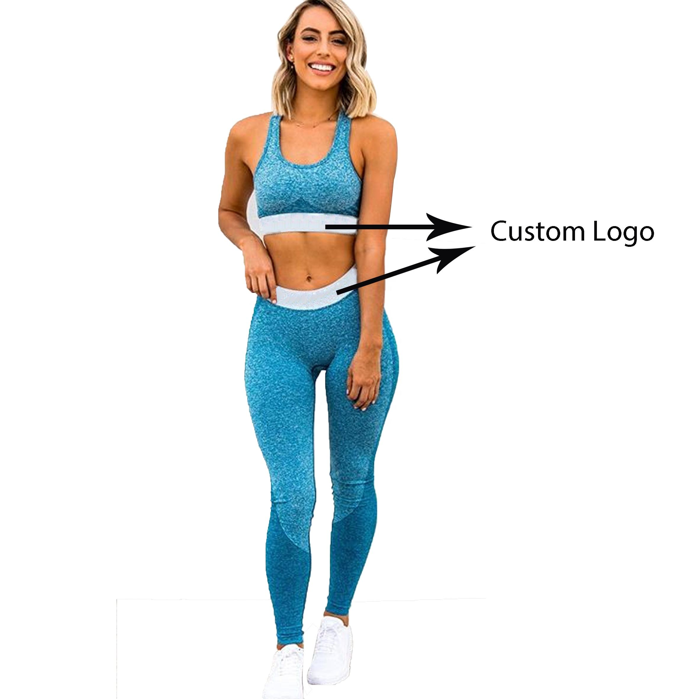 Custom High Waisted Workout Seamless Ombre Leggings and Gym Bra Set