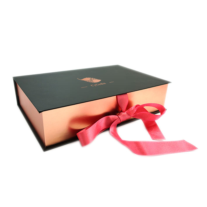 Luxury Rose Gold Book Shape Box Custom Logo Gift Packaging Box With Ribbon