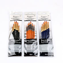 Giorgione 6pcs Synthetic Hair Black Aluminum Ferrule Yellow Wooden Handle Round Shape Paintbrushes Set With PVC Bag