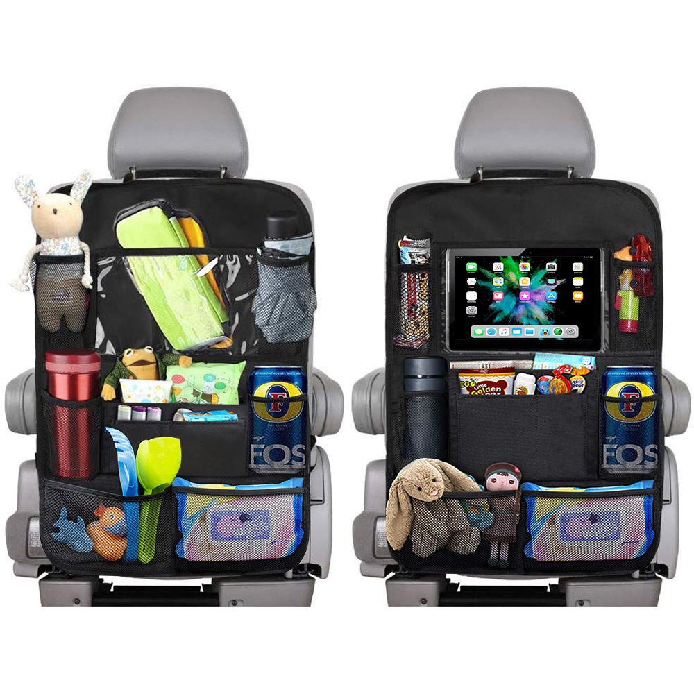 Storage Backseat Car Organizer Kick Mats With Touch Screen Tablet Holder and 5 Storage Pockets Car for Kids Toddlers Toys