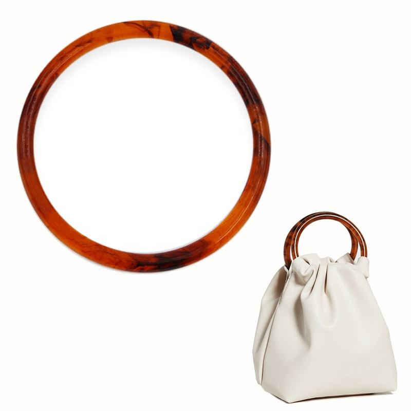 Latest design factory resin tortoiseshell plastic round ring bag hardware handle