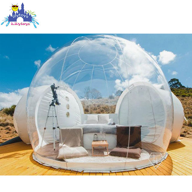 TUV factory clear inflatable bubble tent with tunnel inflatable tents for trade shows inflatable garden tent