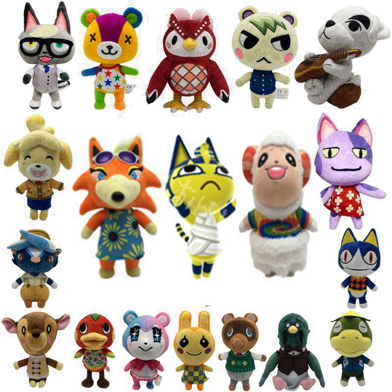 New Cartoon Animal crossing Plush toys Tanuki Bear Kohlrabi striped bass stuffed dolls