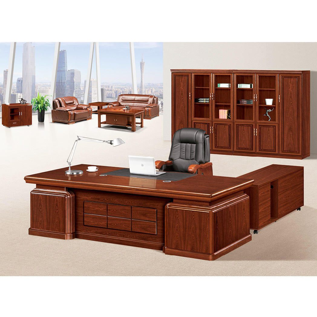 Guangzhou mahogany wood furniture manager office executive desk(FOH-ABB222)