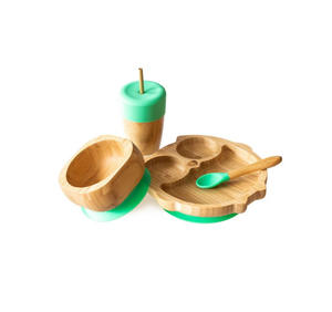 Amazon Best Selling Carton Animal Baby Bamboo Suction Bowl Kids Dinner Plate Set