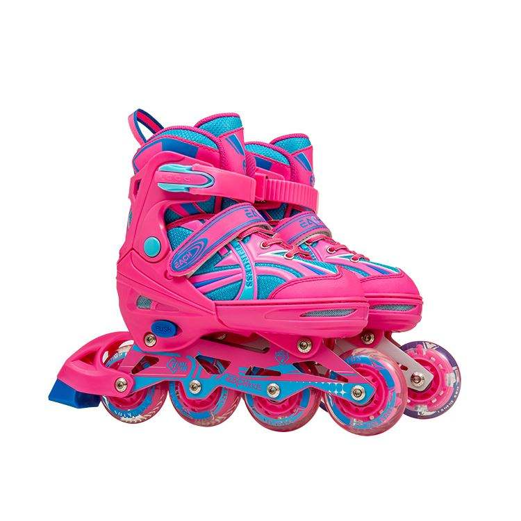 Kids Flashing Heel Skate Rollers Adjustable Two Wheels Skate Shoes