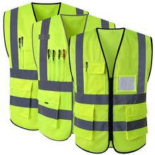 Reflective Vest Jacket Strip Yellow Mesh Fabric Security Safety Vest Reflective Clothing