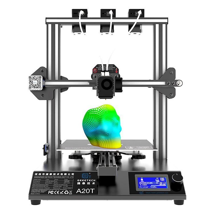 Geeetech A20T Industri Besar 3d Printer Mesin 3D Logam Printer DIY 3 In 1 Nozzle 3 Extruder Delta Logam 3D printer Kit