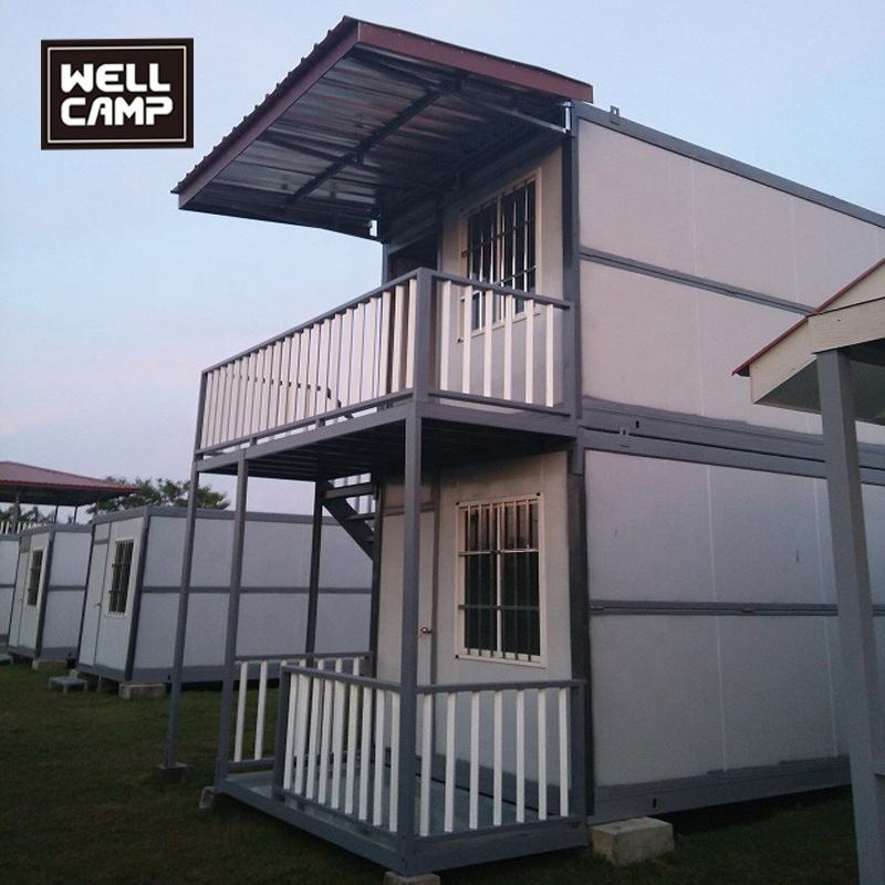 Wellcamp strong prefabricated two floors folding container house customized prefab apartment