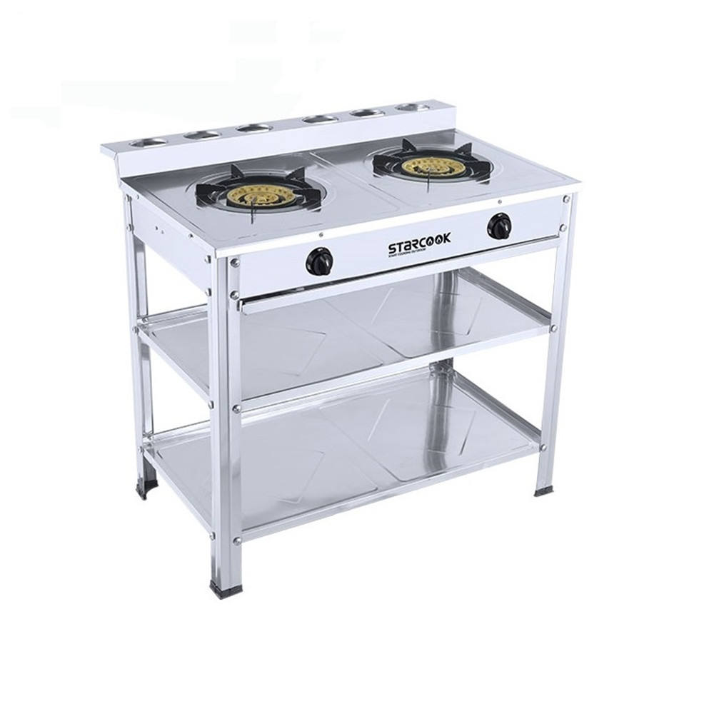 Stainless Steel 2 Burner Table Gas Stove Stand Cooktop