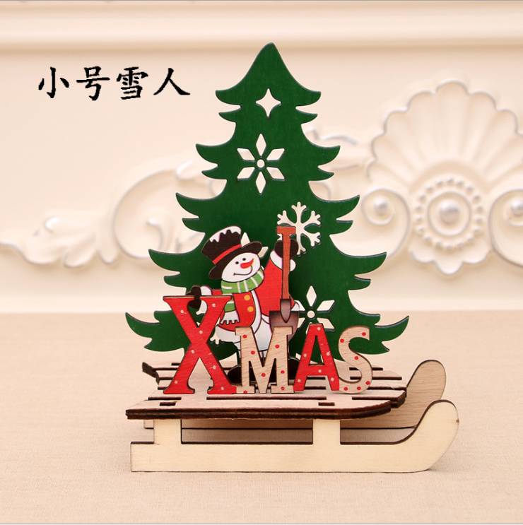 Christmas decorations Christmas creative painted wood assembly DIY sleigh car display pieces jigsaw puzzle gift