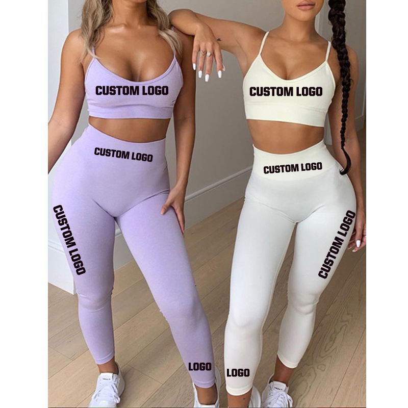 Free Shipping Custom Women Wearing Tight Yoga Pants Fitness Workout Leggings High Waist Stretch Sports Yoga Pants Set