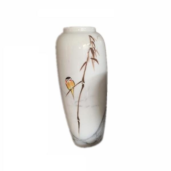 Modern Small Natural White Marble Tabletop Flower Vase Home Decoration
