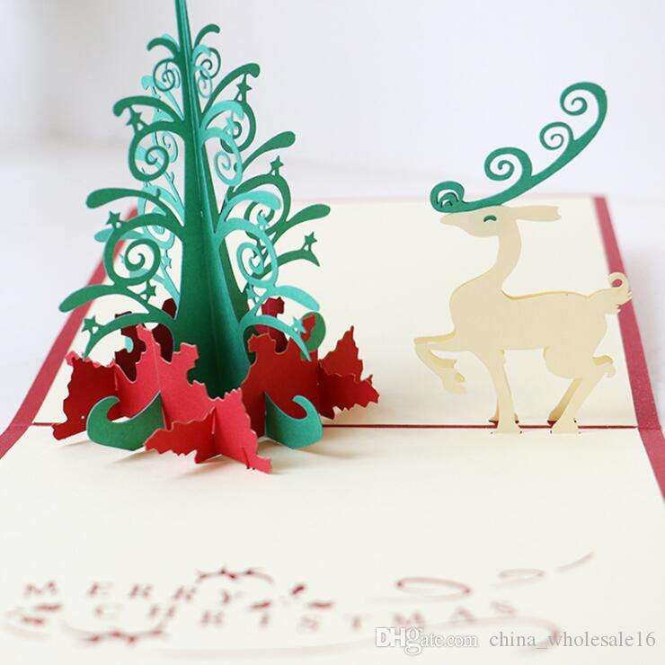 3D pop up merry christmas tree postcard gifts greeting cards with envelope Festival flowers laser cut hollow handmade