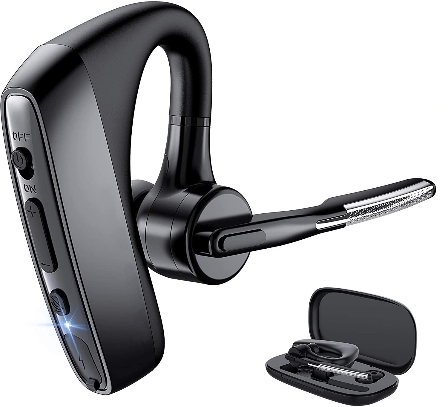 K18 Bluetooth V5.1 Dual Mic Noise Cancelling Hands-Free Wireless Bluetooth Earpiece headset for Business/Office/Driving