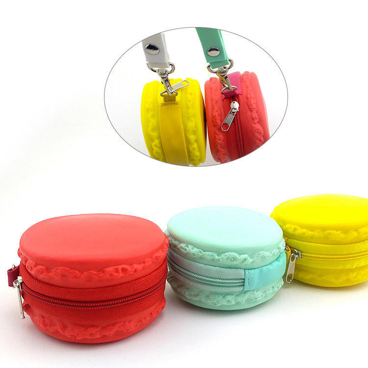Wholesale customization Candy Color Silicone Macaron Round Coin Bag Wallet Purses Zero wallet with zipper