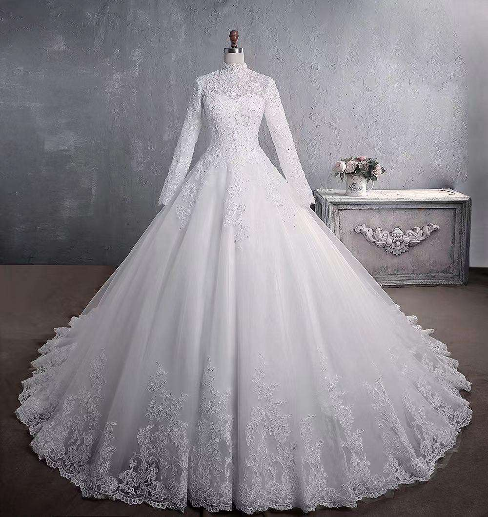 2020 newest style stand collar Muslim women wedding dress plus size lady bridal gown with tailing