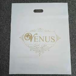 HDPE/LDPE merchandise retail die-cutting patch handle customized plastic bags with own logo shopping bags