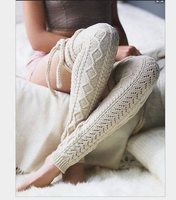 In Stock Fashion Women Cable Knitted Extra Long Thigh High Leg Warmer with strip