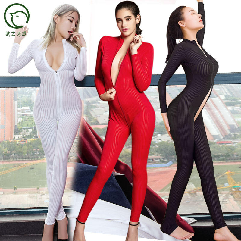 Hot sale 6080 women sexy lingerie stripe two way zipper long sleeves jumpsuit skin suit leotard Japanese Zentai