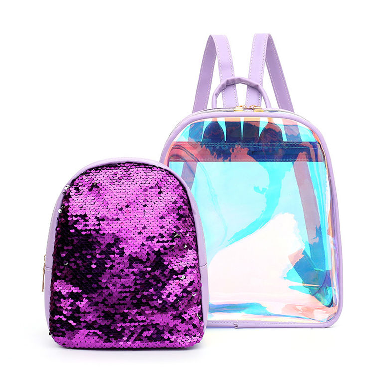 Girls Clear Transparent Bag PVC School bag Holographic Durable Backpack For School