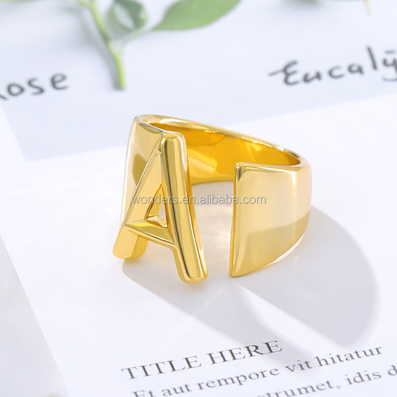 Initial Ring A to Z Gold Plated Letter Ring For Women Girls