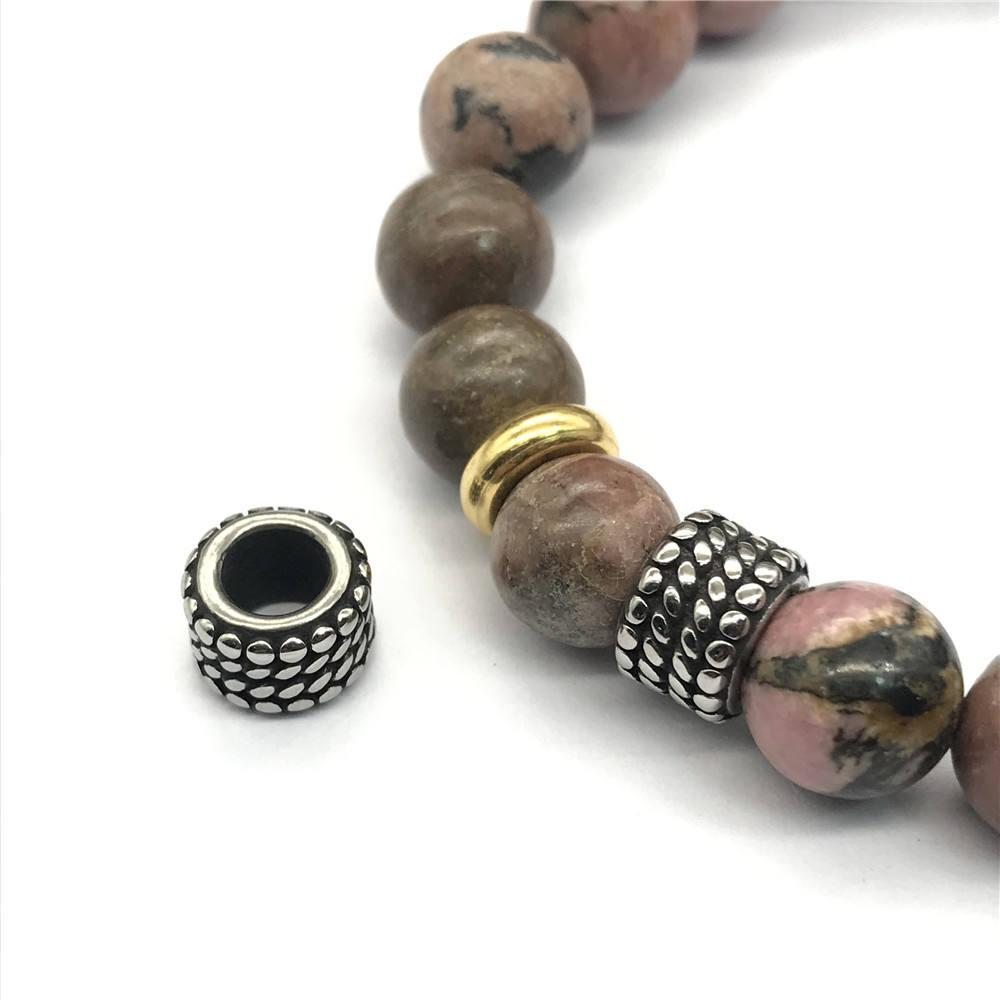 Cat Eye Stone Big Hole Bead Jewelry Copper Circle Snake Bone Bracelet Micro Pave