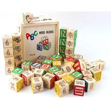 48 pcs Kids Wooden abc Animal Number Square Blocks