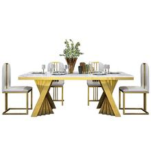A8091 Gold stainless  steel luxury dining table set dining room furniture