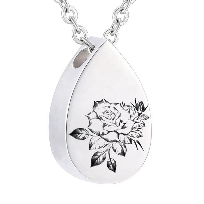Rose Flower Keepsake Urns for Human Pet Ashes Memorial Necklace Funeral Pendant Cremation Keepsake for Ashes Cremation Jewelry