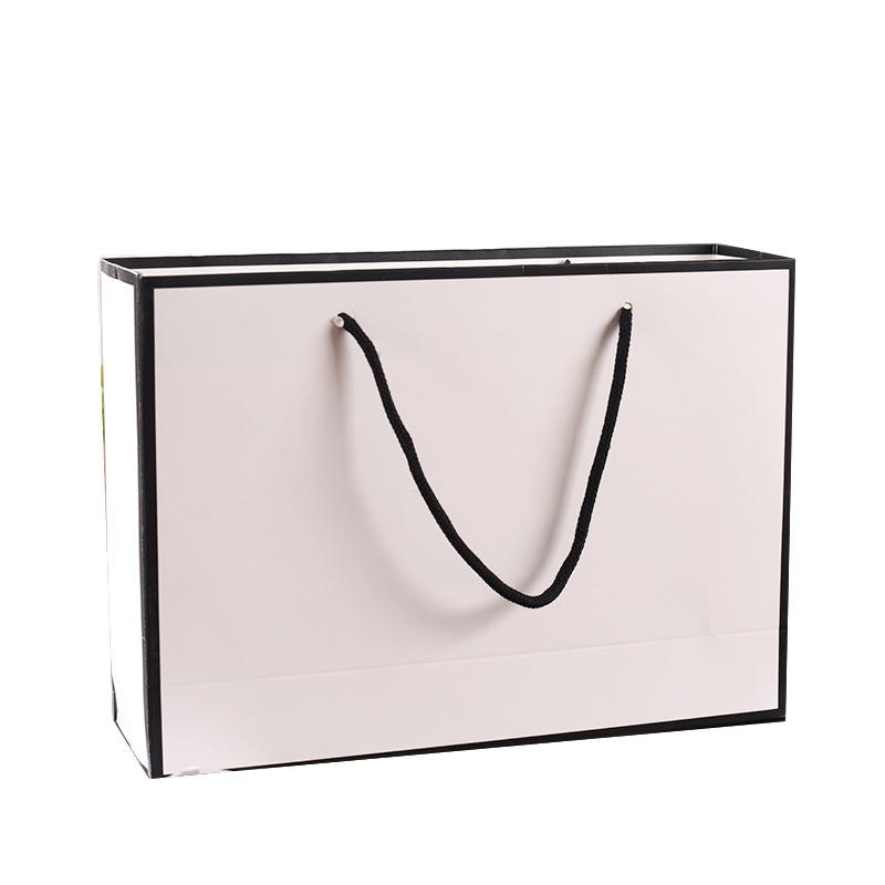 Customized Brand Logo Luxury Elegant Boutique Shopping White Paper Gift Bags With Cotton Handles