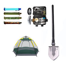 outdoor emergency equipment for other camping, hiking, fishing,exploring with sos survival kit, tent, water filter and shovel