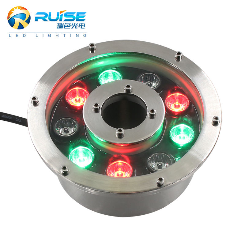 High Quality 304SS 9*1W 12V 24V IP68 Waterproof Single Color RGB LED Fountain Light