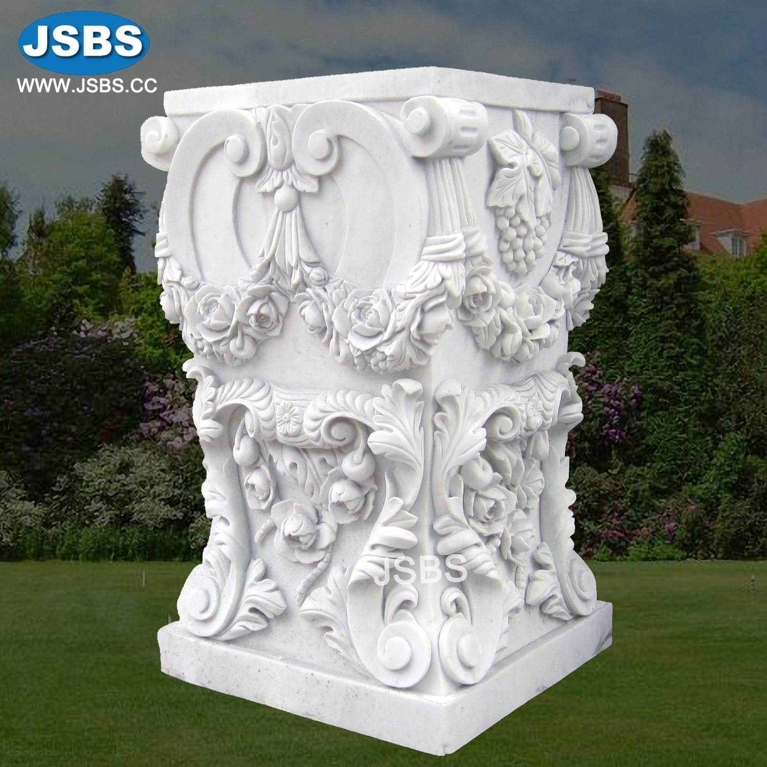Hand Carved Cheap Natural White Marble Decorative Floral Square Column Pedestals