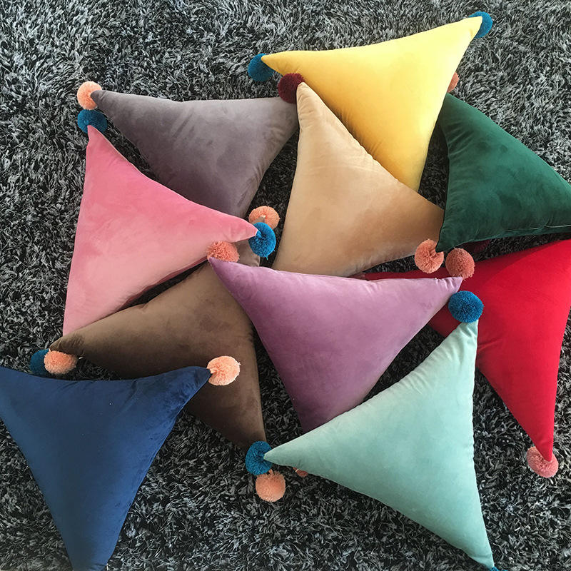 Ins Plain Triangle Super Soft Velvet Pom Pom Pillow Cushion with Tassel Felt Ball Home Decor