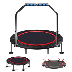 With Handrail Fitness Foldable Rebounder Exercise trampoline Indoor 48 inch Folding Mini Trampoline//