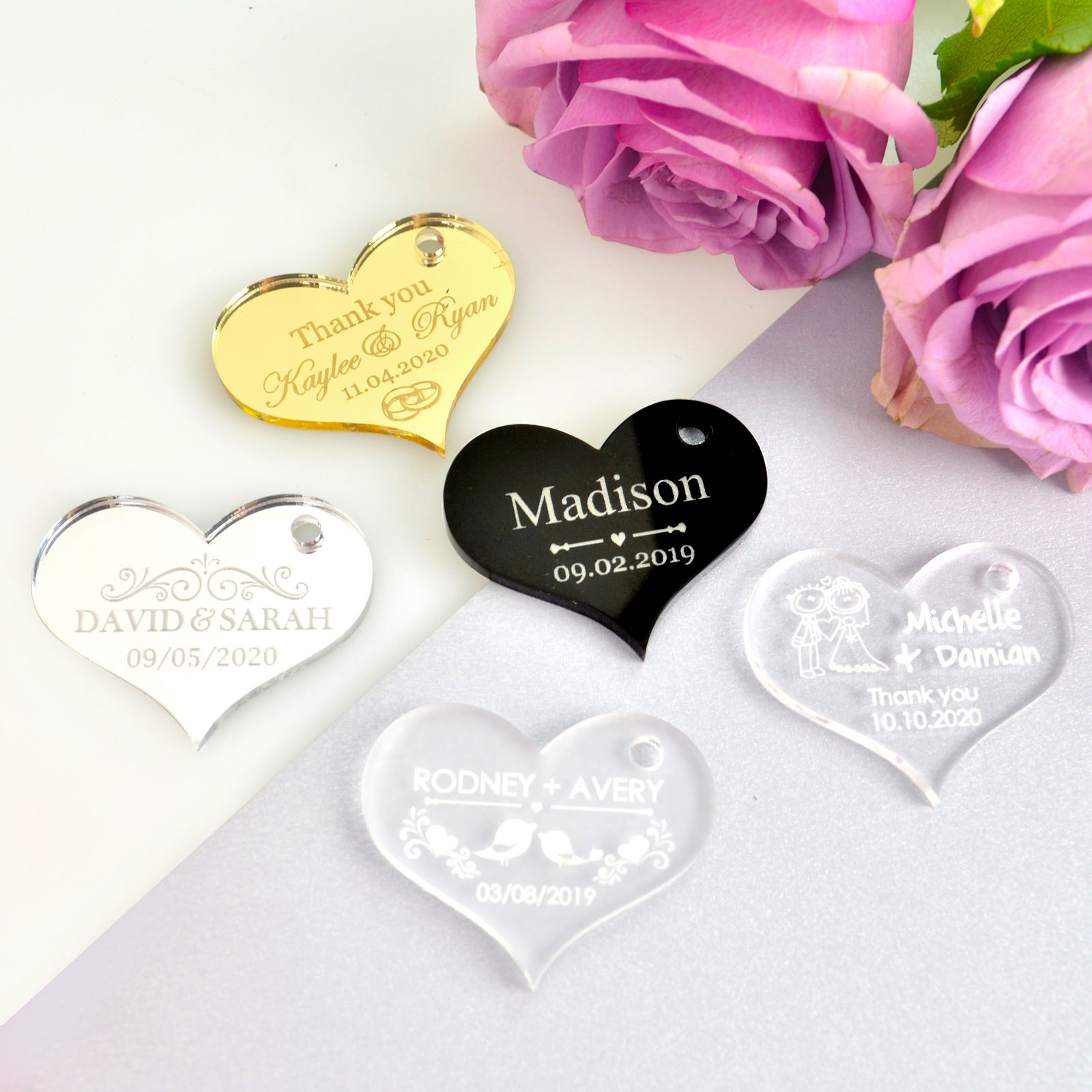 Heart Shape Acrylic Name Tag Acrylic Name Card Table Card For Wedding Lucite Gift Card Acrylic Name Plate