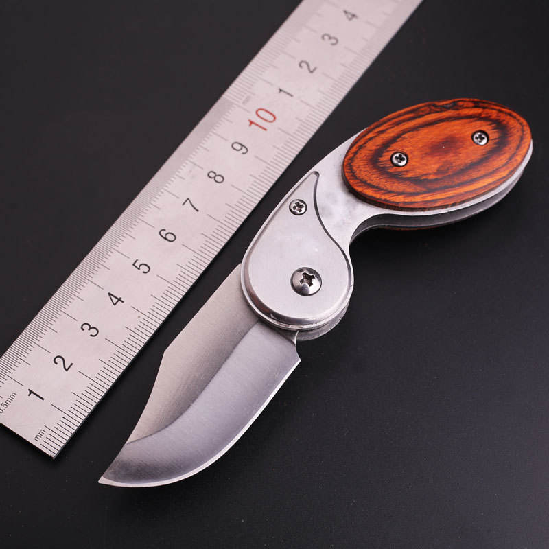 Small Spring Assisted Mini Knives Hunting Survival Tactical Subtle Knife Folding Pocket Knife with Wood Wooden Handle